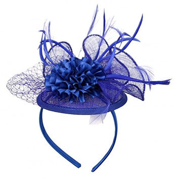 Womans Classy Fascinator Headpiece with Carnation Flower Design and a Fishnet trim -Royal Blue