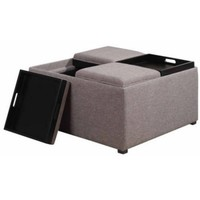 Brooklyn + Max Lincoln Coffee Table Storage Ottoman with 4 Serving Trays - Walmart.com