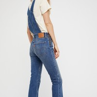 Free People Orange Tab Denim Overalls