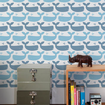 Whales Wallpaper in Turquoise design by Aimee Wilder