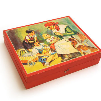 Block puzzle / game. Childs Wooden 20 Cube Picture Puzzle. 6 different images can be made. Picture cubes. Made in Czechoslovakia 60s 70s.