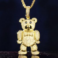 Men's Teddy Bear Iced Out Character Pendant Free Chain