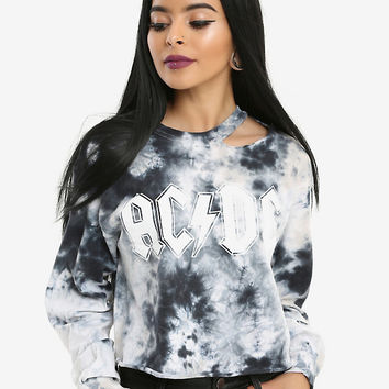 AC/DC Cropped & Destructed Tie Dye Girls Long-Sleeve T-Shirt