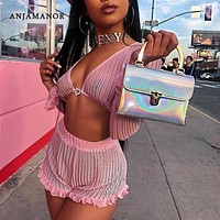 ANJAMANOR Ruffle Pink Mesh 2 Pieces Women Set Crop Top and Shorts Sexy Summer Festival Matching Sets Club Outfits D58-AD70
