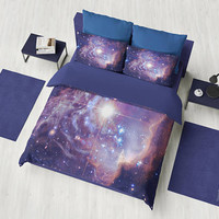 Dark Blue Galaxy Duvet Cover or Comforter,  deep space bedding, outer space, stars, night sky, guy's room decor, beautiful, bedroom decor