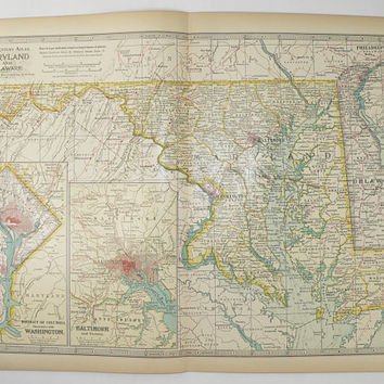 Antique Maryland Map, Delaware DC Map 1899 Century Map, Maryland, Delaware Map, District of Columbia, East Coast State Map, MD Map DE