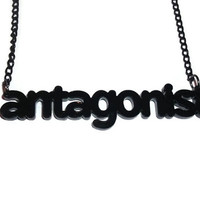 Antagonist Necklace, Literary Term, Novel, Books, Reading, Laser Cut Black Pendant, Perspex