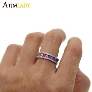 rainbow baguette cubic zirconia cz engagement band ring for girl USA hot selling drop shipping female jewelry thin stunning ring