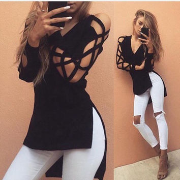 Women Black V Neck T Shirt Long Sleeve Hollow Side Split Irregular Casual Tops T Shirt Women Summer Tshirt Tee Shirt Femme