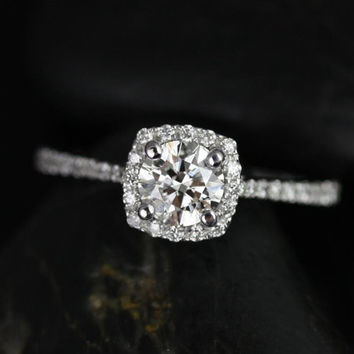 Ultra Petite Samina 14kt White Gold Round Diamond Cushion Halo Diamond Engagement Ring (Other metals and stone options available)