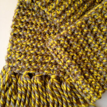 Warm winter Scarf -handmade- mustard color