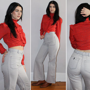 Vintage 70s HIGH WAISTED Jeans / SAILOR Pants / Ultra Light Blue Grey Denim / Bell Bottoms, Flares / Boho, Festival / Seafarer / 25 26 Small