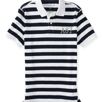 Aeropostale  A87 Striped Logo Jersey Polo
