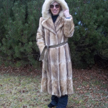 Hooded Mink Coat, Calf Length, Vintage Circa 1980's