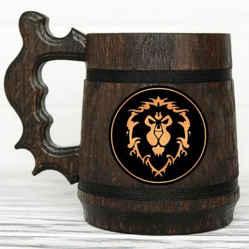 Alliance Mug. World Of Warcraft Mug. Personalized Alliance Gift. Custom WOW Gift. Gamer Gift. World Of Warcraft Gifts Custom Beer Steins Wooden Beer Tankard #68 / 0.6L / 22 ounces