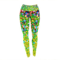 "Ebi Emporium ""Holiday Cheer"" Yellow Green Yoga Leggings"