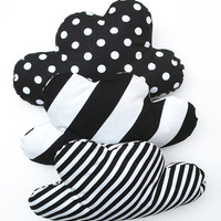Cloud pillow in black and white stripes