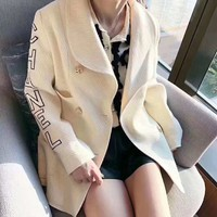 """Chanel"" Women Temperament Fashion Lapel Letter Embroidery Double Row Buttons Long Sleeve Cardigan Suit Woollen Coat"
