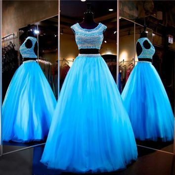 Two Piece Ball Gown Beaded Crop Top Beaded Cap Sleeves Pearls Full Tulle Prom Dresses Turquoise Evening Dress Pageant Dress