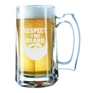 Giant Beer Mug 28 Ounces Beer Stein - Respect The Beard Funny - Laser Engraved