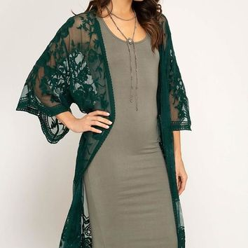 EMERALD LACE MIDI DUSTER CARDIGAN