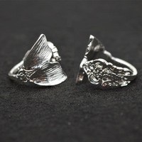 New Color Silver Mermaid Ring Women Tiny Spoon Tail Ring  Index Thumb Ring Elegant RG57