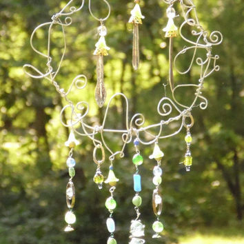 Fairies in the Garden Wire Wrapped Sun Catcher Yard Decor Art Whimsy
