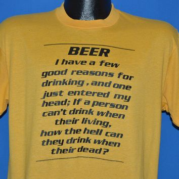 80s Beer Good Reasons For Drinking t-shirt Large