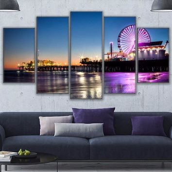Canvas Wall Art Pictures Home Decor Living Room 5 Pieces Los Angeles Beach Pier Painting Frame Prints Ferris Wheel Poster PENGDA