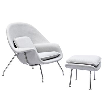 Eero Saarinen Style Womb Chair Avocado Green Glacier White