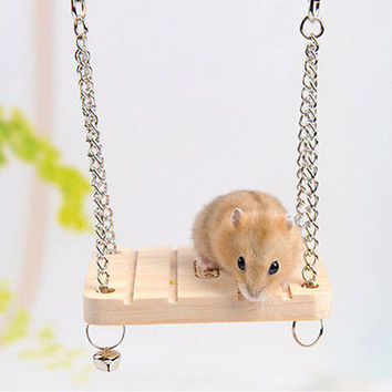 New Hamster Toy Hanging Swing Rat Parrot Wooden Natural Exercise Funny 3C