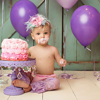 Cake Smash Set- Pink, Aqua, & Lavender, Lace Diaper Cover, Headband, Leggings, bloomers, newborn, baby girl, toddler, birthday, cake smash