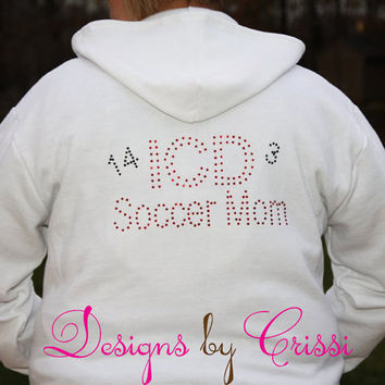 Rhinestone Mom Sports Number School Hoodie Ladies , Spirit wear Soocer Baseball Softball Basketball Personalized Swarovski Custom