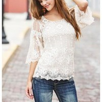 CROCHET AND LACE BELL SLEEVE TOP