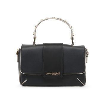 Laura Biagiotti Black Studs Leather Handbag
