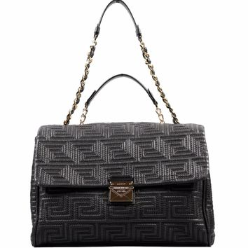 New GIANNI VERSACE COUTURE large black quilted leather shoulder day bag