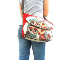 Crossbody Bag Hippie Bag Messenger Shoulder Bag Purse Handbag boho Hobo Bag Owl bag Thai Handmade Everyday Bag Gift Bag Multicolor Bag