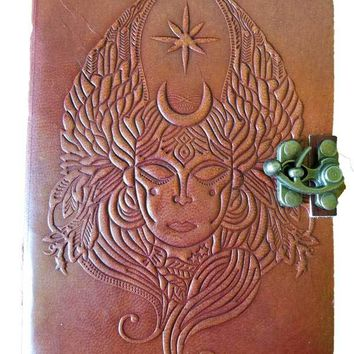 "Handcrafted Leather Goddess Journal with Recycled Paper 5"" x 7"""