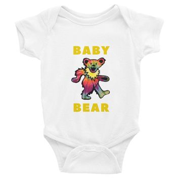 "Onesuit - Deadhead Gifts For Babies: GRATEFUL DEAD ""Baby Bear"" Infant Onesuit/Bodysuit - Dancing Bear - Cute, Rainbow, Colorful! Onesuit baby"
