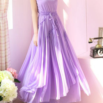 Purple Bohemian Ruffled Chiffon Maxi Dress