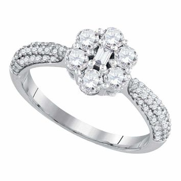 10kt White Gold Women's Baguette Round Diamond Cluster Ring 1.00 Cttw - FREE Shipping (US/CAN)
