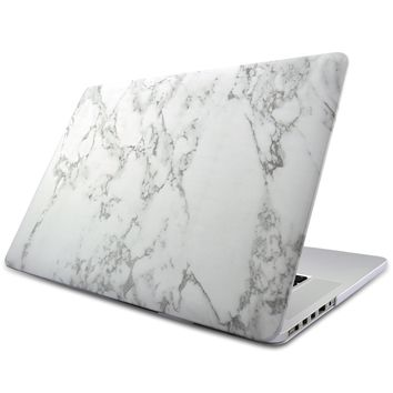 White Marble Pattern Rubber Coated Hard Shell Cover