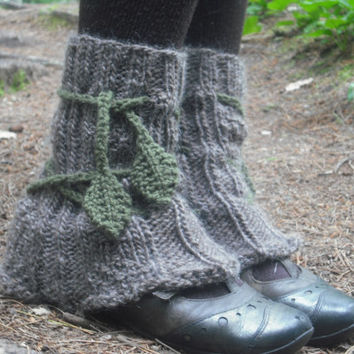 Tree Leg Warmers Fairy Pixie Leg Warmers Leaves Hand Knitted Ready To Ship