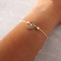 MOON  STAR Bracelet - Gold Silver Moon Star, Add more Stars.Crescent Moon Star Bracelet,new moon bracelet,minimalist jewelry,dainty simple.
