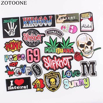 ZOTOONE Rock Biker Skull Patches Custom Music Punk ACDC Embroidered Applique Patch Iron On Letter Patches For Clothes Stickers