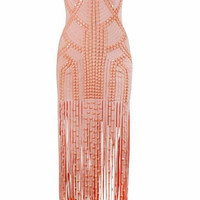 Luxury Orange Beads and Tassels Celebrity Gown