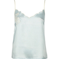 Blue embroidered jacquard cami pyjama top