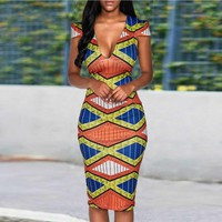Africa Mosaic capped sleeve dress
