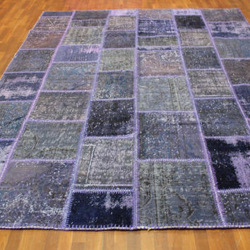 Overdyed Handmade Turkish Patchwork Carpet Purple- Vintage Overdyed Turkish Rug- (243 X 328 cm)(8ft X 10,7 ft)