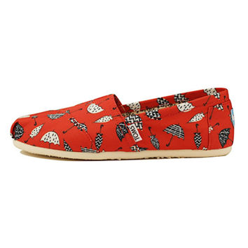 Toms for Women: Classic Red Canvas Umbrella Print